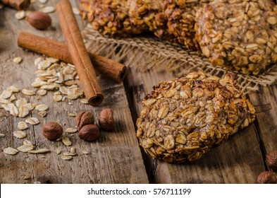 Oatmeal cookies with banana and cinnamon, rustic styled photo