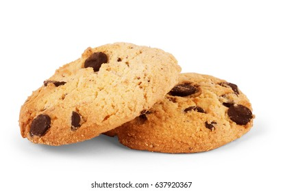 Oatmeal cookies with Chocolate on white background