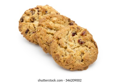 Oatmeal cookies with cranberries on a white background.