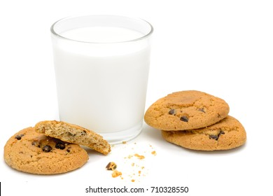 oatmeal cookies and a glass of milk on a white background