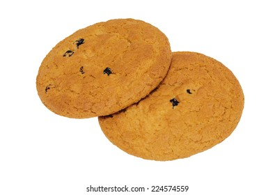 Oatmeal cookies isolated on white background