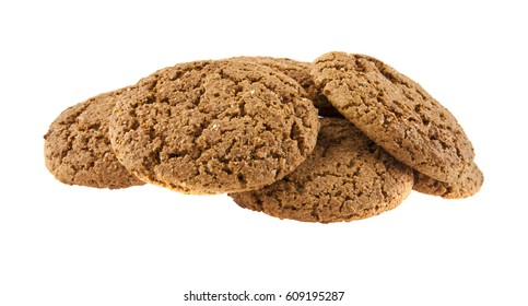 oatmeal cookies isolated on white background closeup