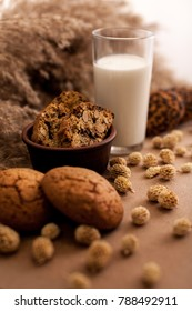 Oatmeal cookies with milk and wheat