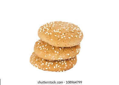 Oatmeal cookies with sesame seeds isolated on white background