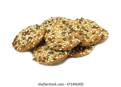Oatmeal cookies with sesame seeds on a white background