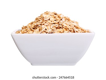 oatmeal flakes bowl  isolated on white background