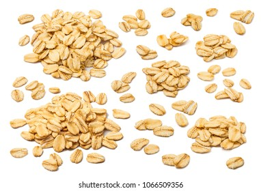 Oatmeal flakes set isolated on white background. For rolled oats product package design