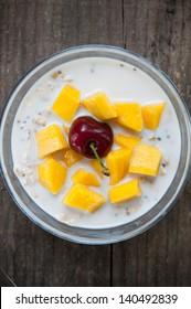oatmeal with fresh mango & cherry
