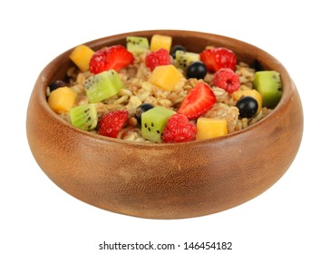 Oatmeal with fruits isolated on white