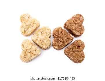 Oatmeal heart dessert isolated on white background
