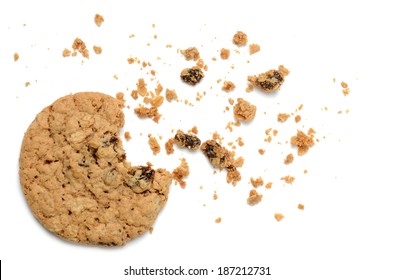 oatmeal raisin cookie with crumbs white background