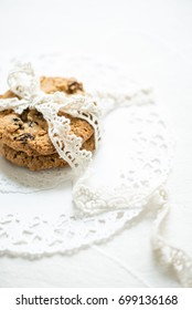 oatmeal raisin cookies isolated on bright background.Cookies present. Selective Focus. Copy space.