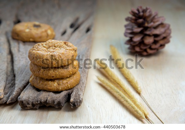 oatmeal raisin cookies on the rustic wooden table