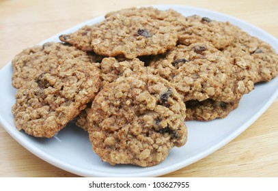 Oatmeal Raisin Cookies on a White Dish