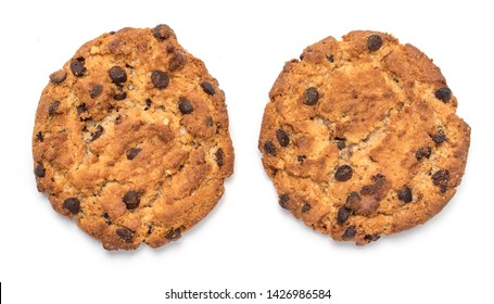 Oatmeal round cookies with chocolate. Isolated on a white background with a clipping path.