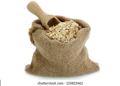 Oatmeal in small burlap sack