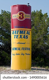 Oatmeal, Texas / USA - June 29 2009: Welcome Sign to Oatmeal Texas on the town city limits.