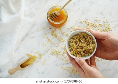 Oats, brown sugar and honey face, lips or body scrub, natural skin care, top view.