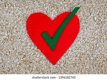 Oats for a healthy heart and right diet options - food background concept for love of health.