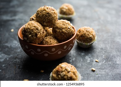Oats laddu or Ladoo also known as Protein Energy balls. served in a plate or bowl. selective focus