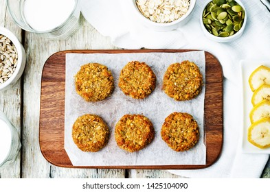 oats pumpkin and sunflower seeds banana cookies. gluten-free. toning. selective focus