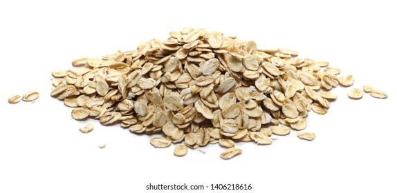 Oats, rye grain cereal for breakfast isolated on white background
