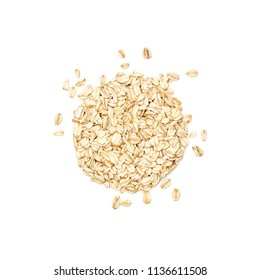 Oats shaped in the form of a circle. Overhead close up view, isolated on white background