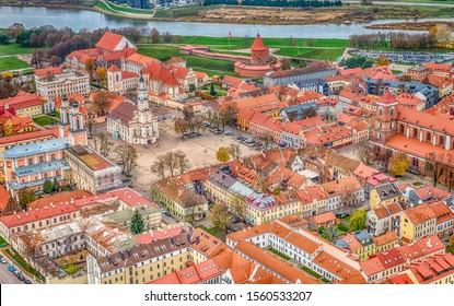 oautmn over old city of Kaunas Lithuania. Red roofs. 2019 11 05
