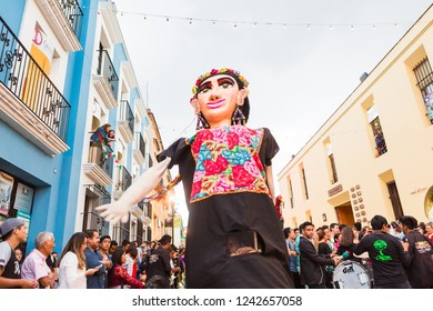 Oaxaca City, Oaxaca / Mexico - September 16th, 2018: Street parade in downtown Oaxaca celebrating Mexican Independence Day.