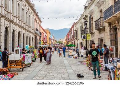 Oaxaca City, Oaxaca / Mexico - September 16th, 2018: Downtown Oaxaca Street Life