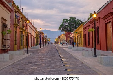 Oaxaca City street, evening. Mexico.