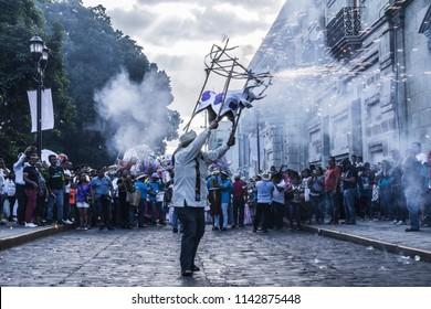 Oaxaca, Oaxaca / Mexico - 21/7/2018: Detail of celebration of traditional Guelaguetza in downtown Oaxaca Mexico
