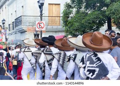 Oaxaca, Oaxaca / Mexico - 21/7/2018: ( Detail of celebration of traditional Guelaguetza in downtown Oaxaca Mexico )