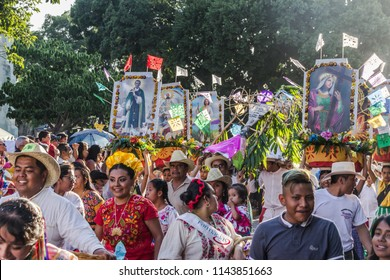 Oaxaca, Oaxaca / Mexico - 21/7/2018: ( Detail of celebration of traditional Guelaguetza in downtown Oaxaca Mexico )