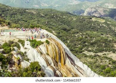 Oaxaca, Oaxaca / Mexico - 21/7/2018: Detail of the natural site of Hierve el agua in Oaxaca Mexico