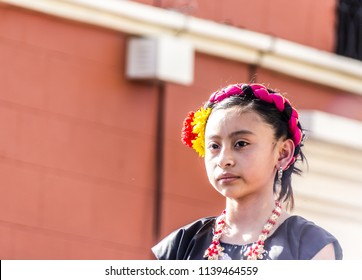 Oaxaca, Oaxaca / Mexico - 21/7/2018: (Indigenous girl with traditional clothes in Guelaguetza celebration in downtown Oaxaca Mexico )