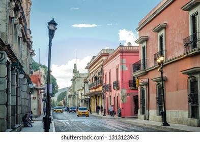 OAXACA, OAXACA, MEXICO- DECMBER 2, 2018: Street view in Oaxaca Mexico on December 2, 2018. Oaxaca is the capital and largest city of the Mexican state of the same name.