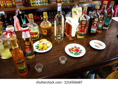 Oaxaca, MEXICO -  July 2015: Alcoholic beverages Mezcal and Tequila bottles. Mezcal is a distilled alcoholic beverage from any type of agave, the plant with Mexican origin. Snaps.