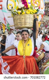 Oaxaca, Mexico - July 24, 2017: Young dancer from the region Chinas Oaxaqueñas in Guelaguetza festival.