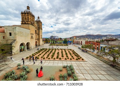 OAXACA, MEXICO - MARCH 4: Activity in the plaza in front of Santo Domingo church in Oaxaca, Mexico on March 4, 2017
