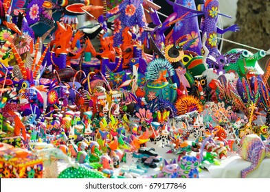 OAXACA, MEXICO - MARCH 4: Traditional handicrafts known as alebrijes from Oaxaca, Mexico on March 4, 2017