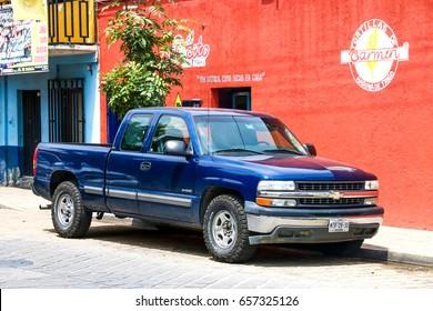 OAXACA, MEXICO - MAY 25, 2017: Pickup truck Chevrolet Cheyenne in the city street.