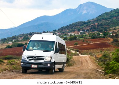 OAXACA, MEXICO - MAY 26, 2017: Passenger van Mercedes-Benz Sprinter at the countryside.