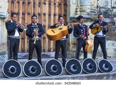 OAXACA , MEXICO  - NOV 02 : Mariachis perform during the carnival of the Day of the Dead in Oaxaca, Mexico, on November 02 2015. The Day of the Dead is one of the most popular holidays in Mexico