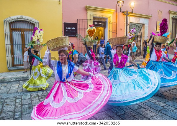 OAXACA , MEXICO  - NOV 02 : Unknown participants on a carnival of the Day of the Dead in Oaxaca, Mexico, on November 02 2015. The Day of the Dead is one of the most popular holidays in Mexico
