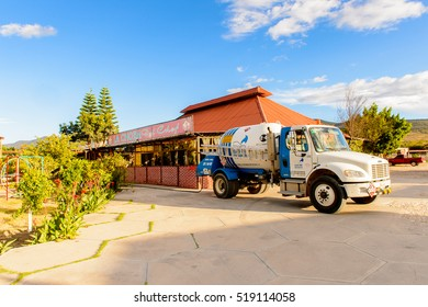 OAXACA, MEXICO - NOV 1, 2016: Gas car near the Restaurant La Choza del Chef in Oaxaca, the place with national Mexican food
