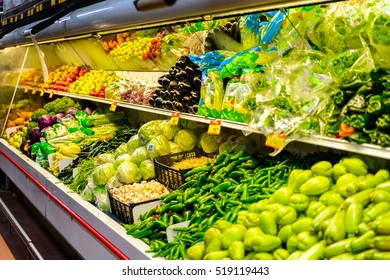 OAXACA, MEXICO - NOV 1, 2016: Vegetables section of the supermarket Soriana, a Mexican public company and a major retailer in Mexico with more than 824 stores