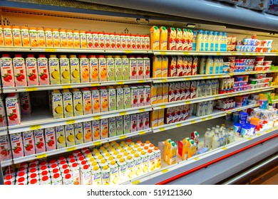 OAXACA, MEXICO - NOV 1, 2016: Juices of the supermarket Soriana, a Mexican public company and a major retailer in Mexico with more than 824 stores