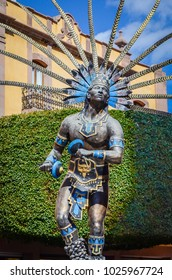 OAXACA, MEXICO - NOVEMBER 2013: Statue of the Chichimeca indian in Queretaro