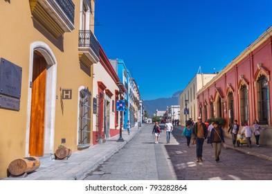 Oaxaca, Mexico - November 21, 2016: Street in Oaxaca, Mexico